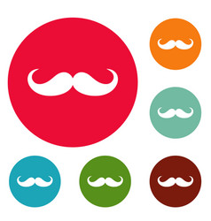 Operetta whiskers icons circle set vector