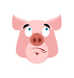 pig surprised emoji piggy astonished emotion on vector image