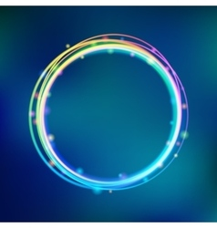 Rainbow glowing circle frame with sparkles vector