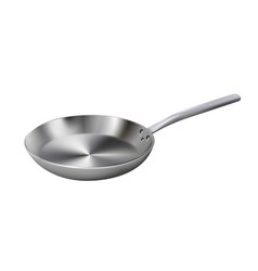 Realistic empty metal frying pan isolated on vector