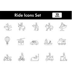 Ride icon set in stroke style vector
