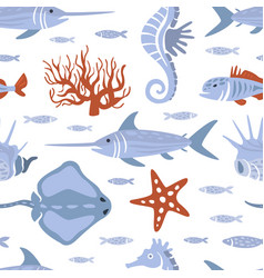 sea creatures seamless pattern underwater life vector image
