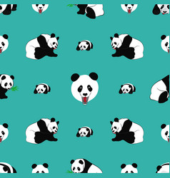 seamless pattern of panda bear vector image