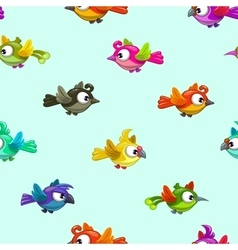 Seamless pattern with cute cartoon little birds vector image