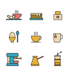set simple colored breakfast icon in trendy vector image