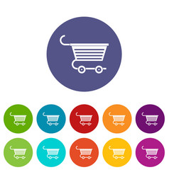 Shopping trolley icons set flat vector