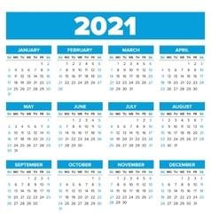 Simple 2021 year calendar vector