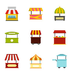 Street food truck icon set flat style vector