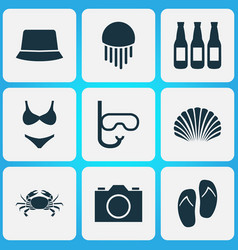 sun icons set with beer swimming mask jellyfish vector image