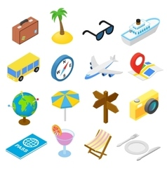 Travel isometric icons set vector image
