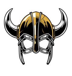 viking warrior helmet vector image