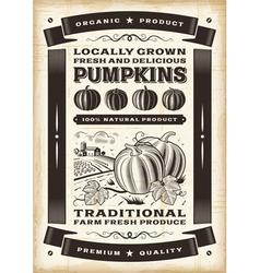 Vintage pumpkin harvest poster vector image