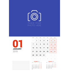 Wall calendar planner template for january 2019 vector