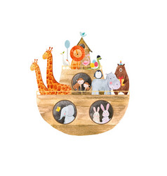 watercolor baby noah ark vector image
