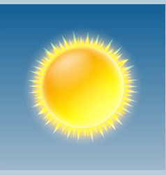 weather icon with shiny sun on blue sky vector image