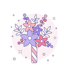 Wedding bridal bouquet icon in line art vector