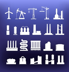White industrial icons clip-art on color backgroun vector