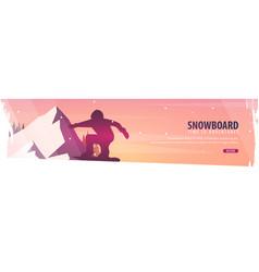 winter sport snowboard ski horizontal banner vector image