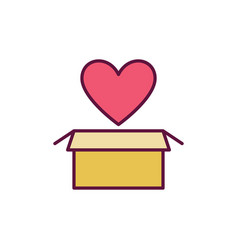 yellow cardboard box with red heart icon vector image