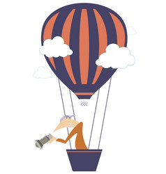 Young man with a camera flying on the air balloon vector