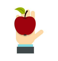 apple in hand icon flat style vector image vector image