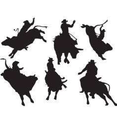 bull riders vector image vector image