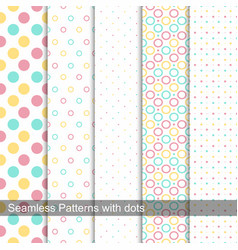 collection of dotted seamless patterns vector image vector image