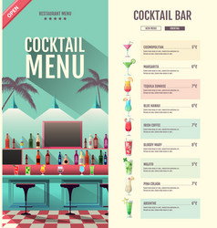 flat style cocktail retro menu design with bar vector image
