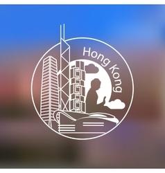 Hong Kong one line design on blurred background vector image