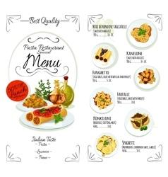 Italian cuisine restaurant pasta menu template vector