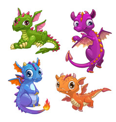 little dragons set vector image