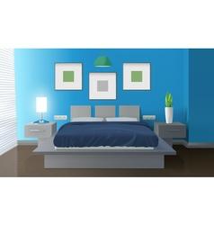 Modern Bedroom Blue Interior vector image