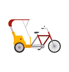 rickshaw bike isolated taxi yellow tourism vector image