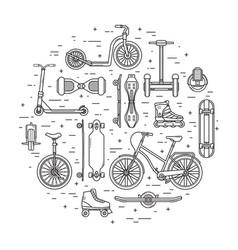 Alternative city transport concept in circle vector