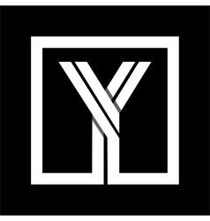 Capital letter Y From white stripe enclosed in a vector image