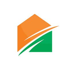 abstract house arrow logo image vector image vector image