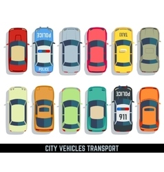 Cars top view flat city vehicle transport vector image