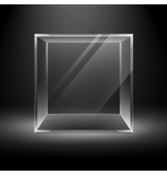 Empty Glass Box Cube on Background with Backlight vector image vector image