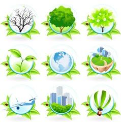 Green Icon Set vector image vector image