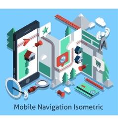 Mobile navigation isometric vector