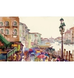 Street of Old autumn city made in watercolor style vector image