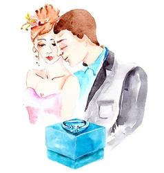 Watercolor couple in love vector image vector image