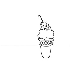 ice cream in a waffle cup with cherry vector image vector image