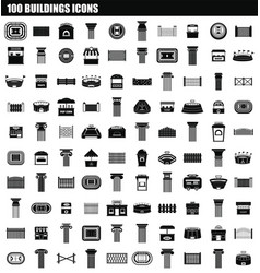 100 buildings icon set simple style vector image