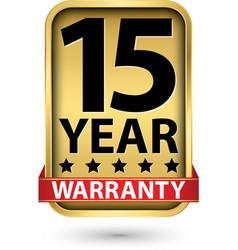 15 year warranty golden label vector