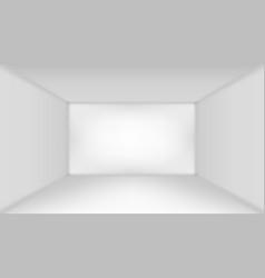 3d room design gallery interior with empty wall vector