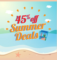 45 off summer deals poster promotion with vector