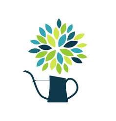 Abstract flower in watering can vector