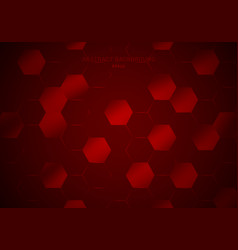 abstract geometric hexagons pattern on glow red vector image