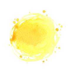 Abstract yellow color round brush watercolor vector